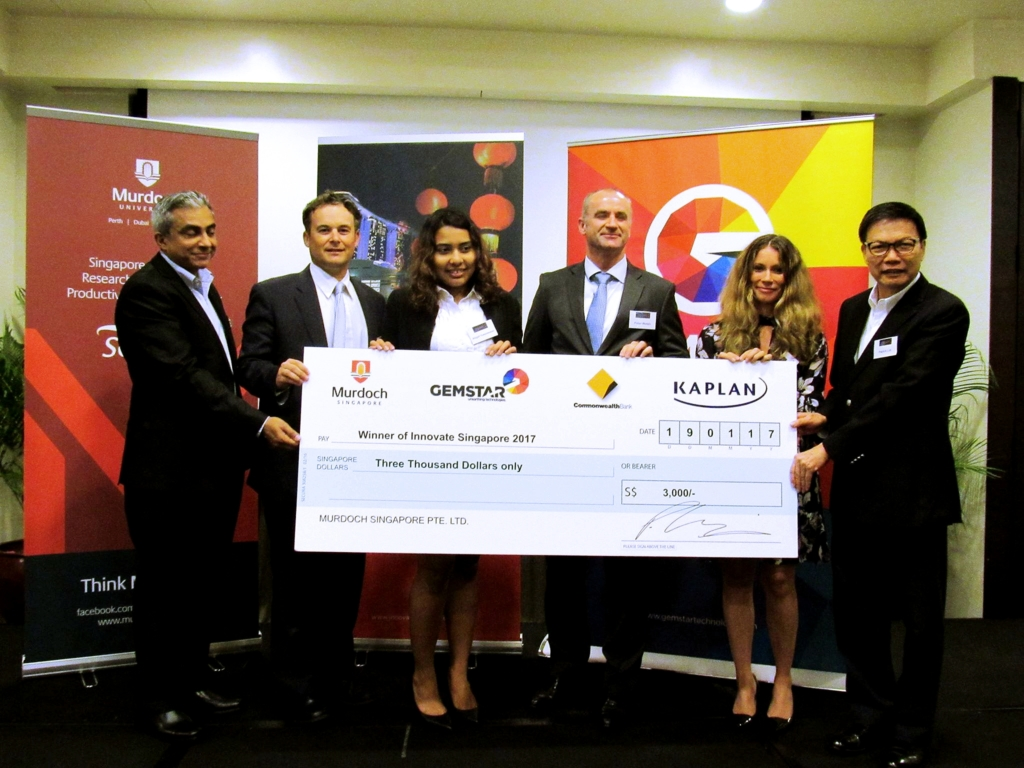 Abigail Yuwaneswari Pilapil Krishna Murthy, inaugural winner of Innovate Singapore, pictured together with the judges.