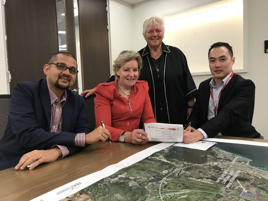 Associate Professor Chris Vas, Murdoch University Singapore, Regional Development Minister Alannah MacTiernan, Peel Development Commission chair Paddi Creevey and Fund Singapore chief executive Lester Chan.